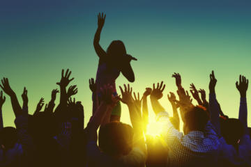 Silhouettes of People at Outdoors Music Festival
