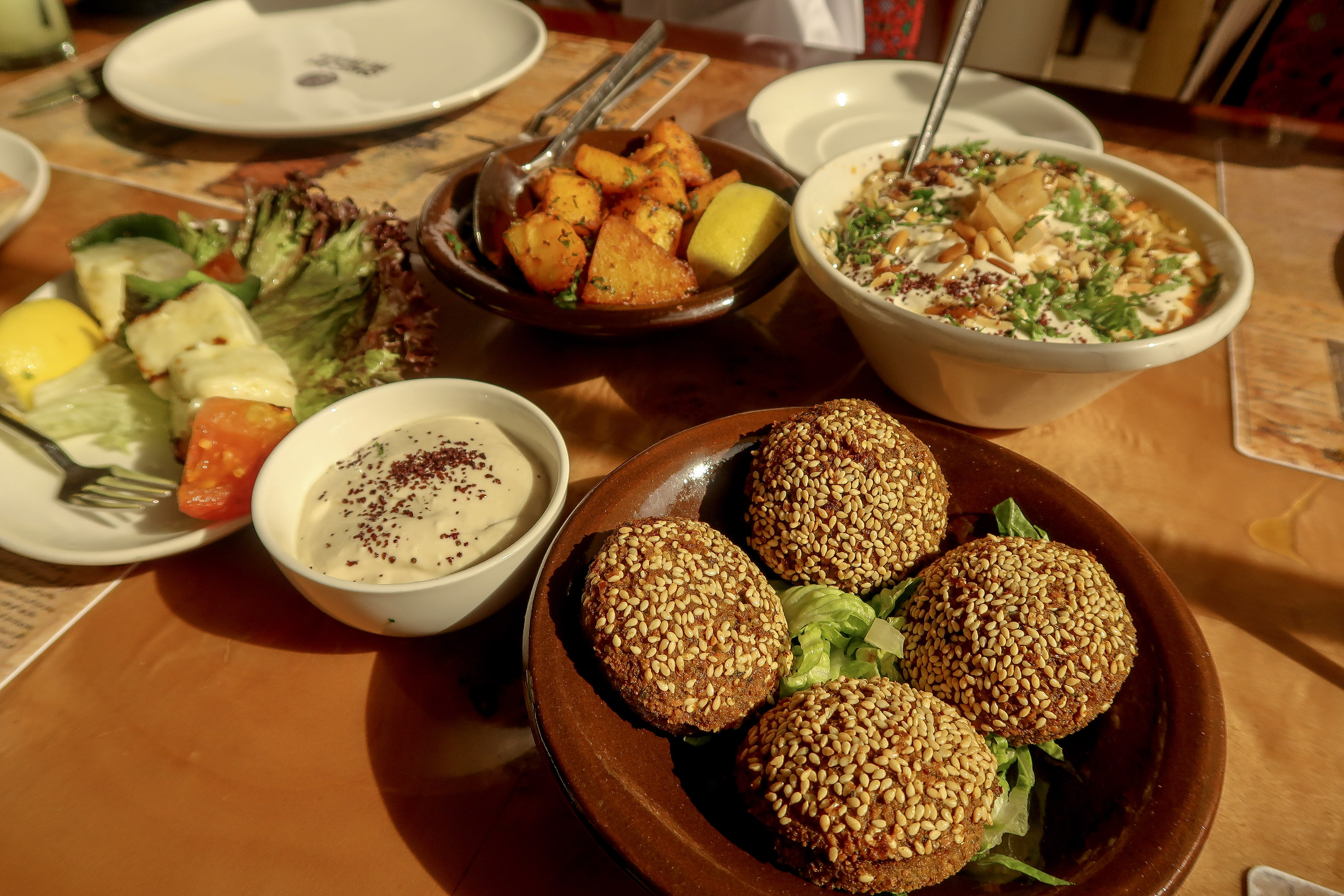 Stuffed Falafel, Palestinian restaurant - eating in Qatar | Visit Qatar | Doha, the capital of Qatar is located in the Middle East and the World Cup 2022 location. Find out how I spent 4 days on my visit to Qatar | Travel Guide & Tips | Elle Blonde Luxury Lifestyle Destination Blog