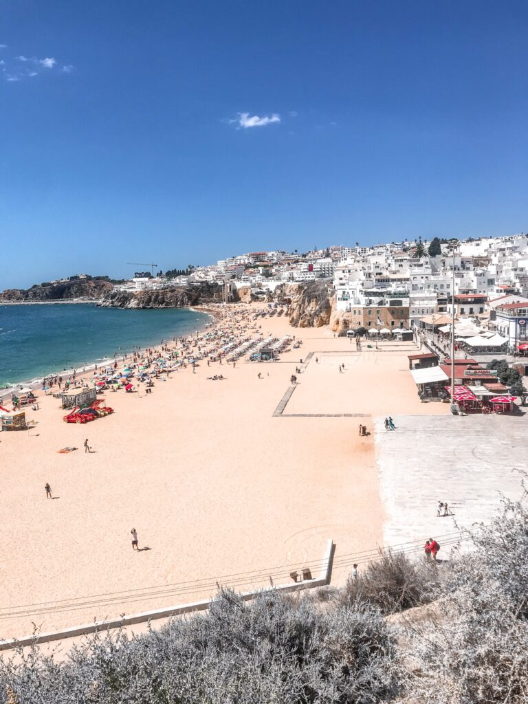 View from the escalators of the beach - Hotel California in Albuferia Old Town, The Algarve Portugal | eco-friendly, vegan, adults-only hotel with a modern twist | On The Beach Holidays Review | Elle Blonde Luxury Lifestyle Destination Travel Blog