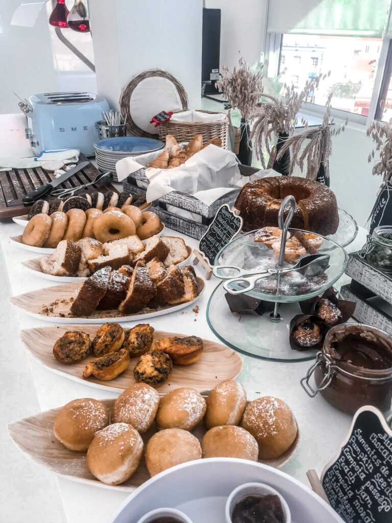 Breakfast pastries - Hotel California in Albuferia Old Town, The Algarve Portugal | eco-friendly, vegan, adults-only hotel with a modern twist | On The Beach Holidays Review | Elle Blonde Luxury Lifestyle Destination Travel Blog