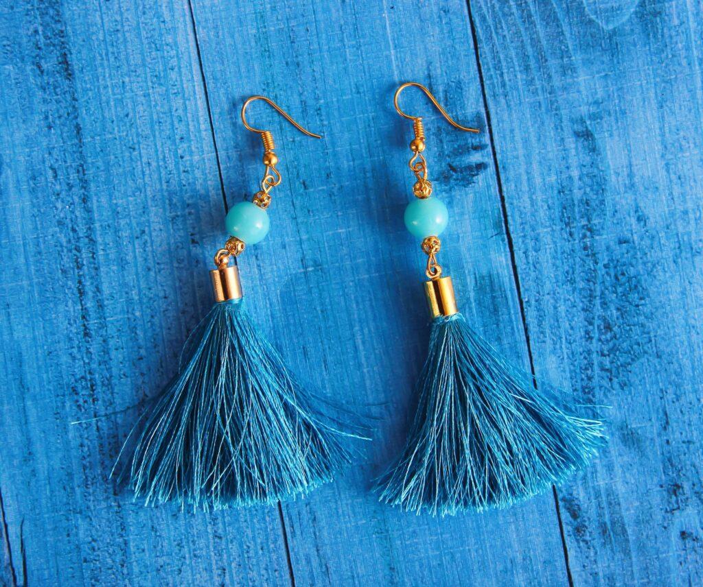 Blue Tassel Earrings   5 Ways To Wear Earrings To Help Them Be More Flattering   Fashion & Style   Elle Blonde Luxury Lifestyle Destination Blog