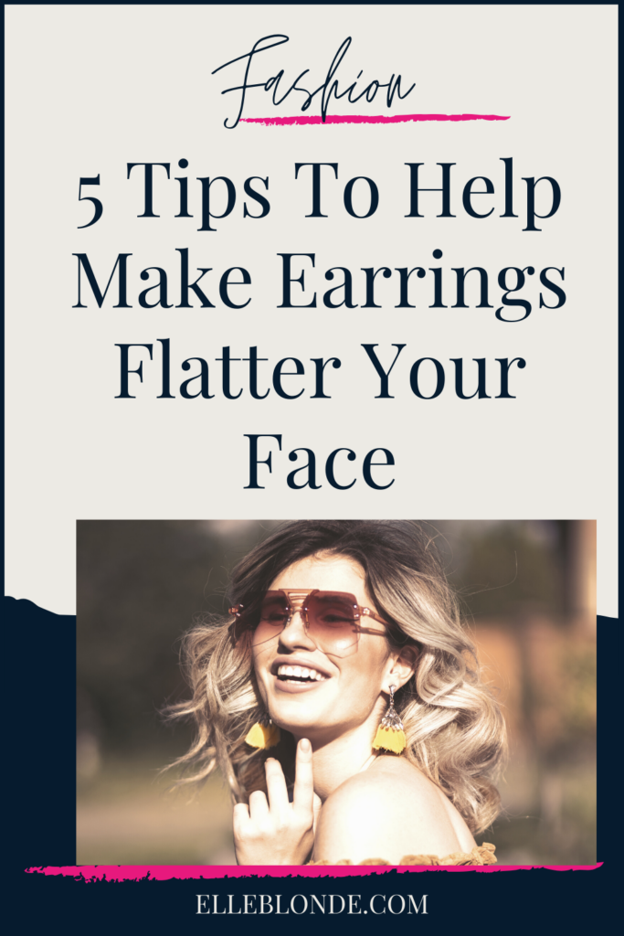 Girl with sunglasses and large gold abstract earrings   5 Ways To Wear Earrings To Help Them Be More Flattering   Fashion & Style   Elle Blonde Luxury Lifestyle Destination Blog