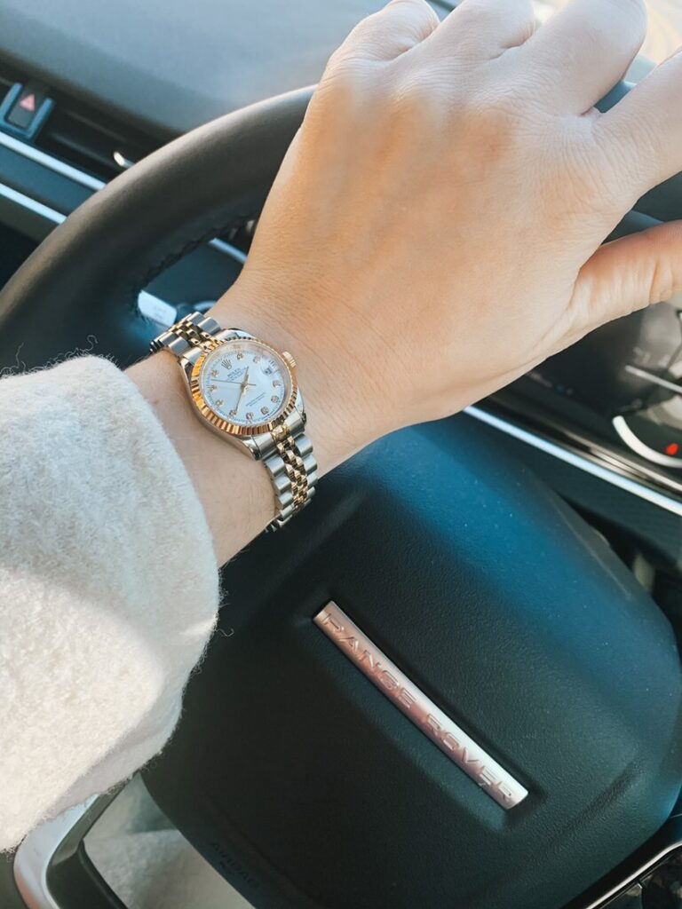 Rolex Datejust Ladies Watch in Range Rover | Elle Blonde Luxury Lifestyle Destination Blog