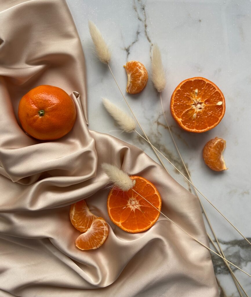Silk with oranges  | 8 Easy Ways to Maintain a Hairstyle | Beauty | Elle Blonde Luxury Lifestyle Destination